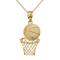 Solid 14k Yellow Gold Textured Basketball Hoop Sports Pendant Necklace