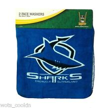 NRL Cronulla Sharks Facewashers Face Cloth Face Washer 2 Pack Official NRL