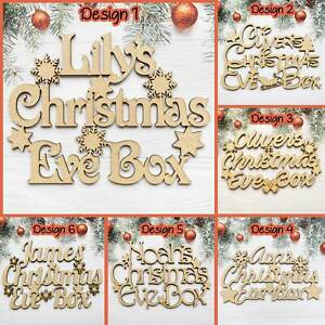 Personalised Christmas Eve Box Topper Craft Wall Door MDF Wood Xmas Gift AnyName