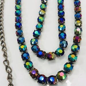 "Black Rhinestone Necklace Aurora Borealis Faceted Gems Gunmetal 28"" Long"
