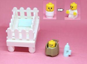 LEGO White Crib Baby 2 bodies Bottle carrier Girl Minifigure Sitter City Town