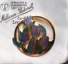 VINTAGE gioielli dell'era Maji SMALTO Openwork Tulipano Fiore Spilla Scialle Sciarpa
