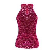 Women Ladies Sexy Sequin Vest Bling Singlet Sparkle Glitter T Shirt Tank Top UK