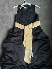 Girls Black Holiday or Wedding Dress, Black size 10 with Gold Satin belt bow