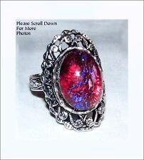 Dragons Breath Glass Opal Antique Silver Tone Victorian Gothic 18x13mm Adjs Ring
