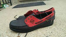 New Allen Edmonds First Baseman Boat Shoes Rays, Leather Upper, Black/Red, 9.5 D