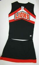 "Lions Cheerleader Uniform Outfit Costume 34"" Top 28 Skirt Black Orange Paw Print"