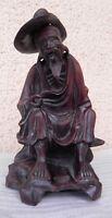 Ancien sculpture en bois chinois pecheur sage, statuette figurine asie metier