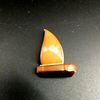 Vintage Signed Russian Baltic Amber Sail Boat Gold Tone Brooch Pin Nautical