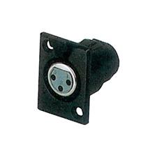 Fiche XLR 3 Broches Femelle Chassis Connections à Souder Couleur Noire