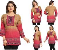UK STOCK - Women Fashion Indian Printed Kurti Tunic Kurta Top Dress MI523 Pink