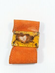 Artisan Orange Leather Glass Heart Wide Snap Bracelet 7.75 Inches