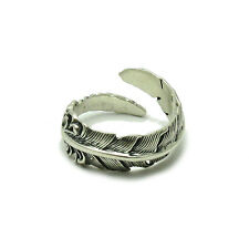 STERLING SILVER RING SOLID 925 FEATHER ADJUSTABLE SIZE R001474