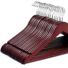 Cherry Wood Suit Hangers Solid Non Slip Bar Velvet Clothes Wooden Hanger Closet