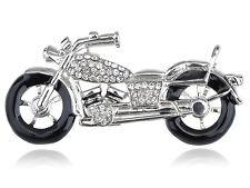 Silver Harley Davidson Crystal Rhinestone Biker Motorcycle Racer Pin Brooch hot