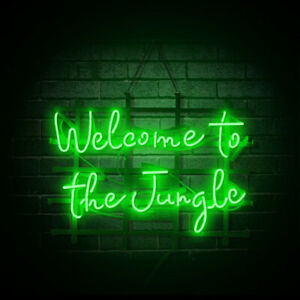 """19""""x15""""Welcome To The Jungle Neon Sign Light Bistro Bar Pub Wall Hanging Decor"""