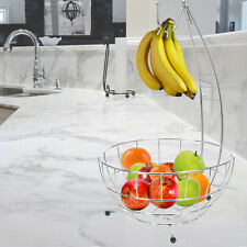 Hanging Fruit Bowl Vegetable Chrome Basket Hook Tree Apple Orange Banana Grapes