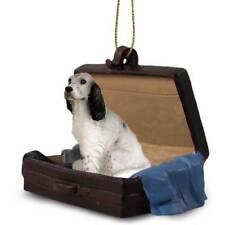 English Setter Blu Belton Traveling Companion Dog Figurine In Suit Case Ornament