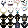 Fashion Set Choker Crystal Pendant Bib Statement Necklace Earrings Party Jewelry