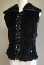 Colebrook Black Rabbit Fur & Lambskin Leather Vest Full Zip Up - Small