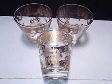 3 Lrg George Briard Type Tumblers / Dbl Fashions ~ gold pineapples ~ pears etc