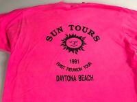 Sun Tours T-Shirt VTG 1991 Womens SZ M/L Daytona Beach Florida Pink USA Made Tee