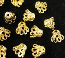 300pcs Gold Plated Filigree Bell Bead Caps 6mm E604