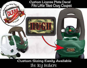 Replacement Decals fits Little Tikes Cozy Coupe Green Camo Custom Number Plate