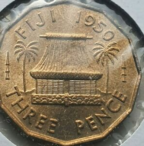 1950 Fiji 3 pence coin uncirculated scratched