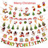 Multi Style Christmas Hanging Banner Santa Claus Elk Xmas Party Room Decor-WI