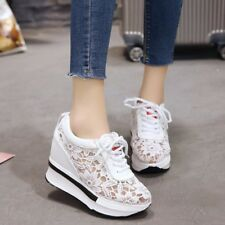 Women's Hidden Wedge Heels Sneaker Hollow Floral Athletic Casual Shoes Creepers