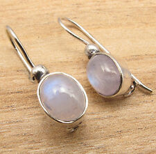 HANDMADE JEWELRY EARRINGS , Natural RAINBOW MOONSTONE Gems ! 925 Silver Plated