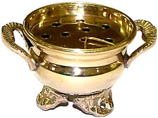 "Small Mini Brass Cauldron Burner for Charcoal Incense, 2"" (Altar Wicca, Pagan)"