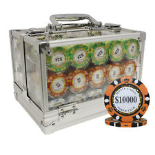 600 14G MONTE CARLO POKER CLUB CLAY POKER CHIPS SET ACRYLIC CASE CUSTOM BUILD