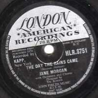 """1959 UK No.1 JANE MORGAN  78 """" THE DAY THE RAINS CAME """"  LONDON HLR.8751 EX-/VG+"""