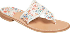 Women's Jack Rogers Jacks Icon Floral Flat Thong Sandal White Leather