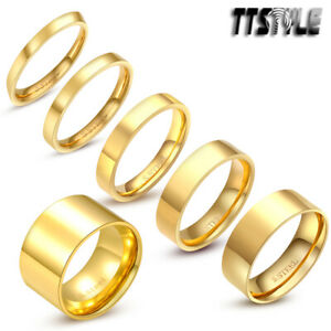 TTstyle Gold-Tone Stainless Steel Plain Wedding Band Ring 2mm-14mm Size 3-15 NEW