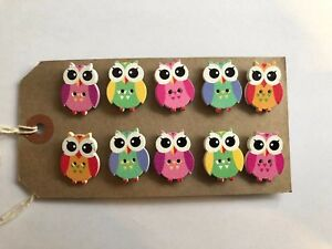 10 X Handcrafted Owl notice cork message board pins 20 mm