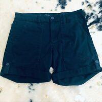 Jones NY Womens Shorts Size 6 Navy Blue Utility Shorts Cuffed High Rise