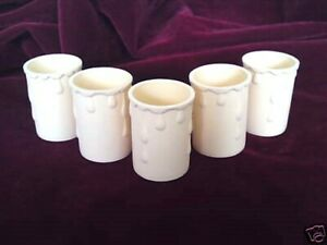 Cream candle Tubes sleeves with Drips Plastic 50mm x 33mm internal pack of 5