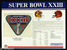 SUPER BOWL 23 ~ SF 49ers BENGALS Willabee Ward OFFICIAL NFL SB XXIII PATCH CARD