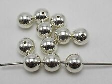50 Bright Silver Metallic Acrylic Round Spacer Beads 14mm Smooth Ball Beads