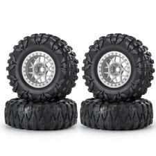 "4Pcs 2.2"" Metal Widen Beadlock Wheel Rims& Rubber Tires For 1/10 RC Crawler"