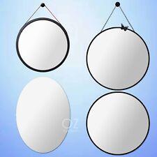Bath Vanity Oval/Round Wall Decor Mirror Bamboo/Irom Black Frame Hang Adjustable