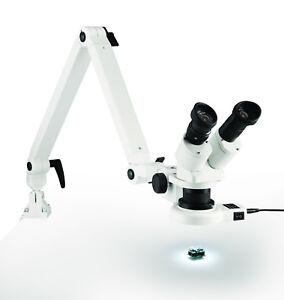 Eschenbach Auflicht Stereo Mikroskop mit Gelenkarm und LED Ringleuchte NEU