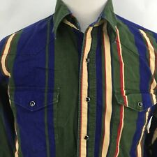 Wrangler Shirt Striped Western Casual Pearl Snaps Mens Xlt Bright Long Sleeves