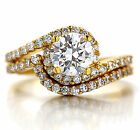 18K WHITE YELLOW GOLD GF INFINITY SOLITAIRE CT DIAMOND ENGAGEMENT WEDDING RINGS