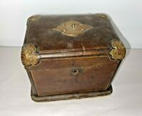 Wonderful Antique Leather-Coved Velvet Jewelry Box w/ Engraved Corners