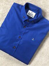 VIVIENNE WESTWOOD MEN'S ELECTRIC BLUE S25DL0409 LOGO L/S SHIRT TOP - 50 - NEW