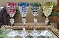 Vintage VAL ST LAMBERT SET of (4) - Cut to Clear Crystal Wine Water Goblets